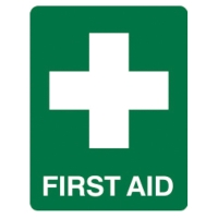 TRAFALGAR SELF-ADHESIVE   FIRST AID  180MM X 250MM SIGN - EACH