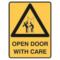 TRAFALGAR SELF-ADHESIVE   OPEN DOOR CARE WITH CARE  180MM X 250MM SIGN - EACH