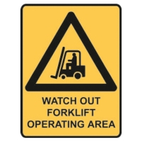 TRAFALGAR SELF-ADHESIVE   WATCH OUT FORKLIFT OPERATING  180MMX250MM SIGN - EACH