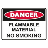 TRAFALGAR SELF-ADHESIVE   DANGER FLAMMABLE MATERIAL  250MM X 180MM SIGN - EACH