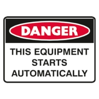 TRAFALGAR SELF-ADHESIVE   DANGER EQUIPMENT STARTS  250MM X 180MM SIGN - EACH