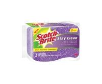 SCOTCH-BRITE STAY CLEAN NO SCRATCH SCRUB SPONGE PURPLE - PACK OF 2