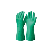 FRONTIER NITRILE MERCURY FLOCK LINED LARGE GLOVES GREEN - PAIR