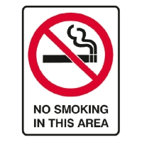 TRAFALGAR PROHIBITION  NO SMOKING IN THIS AREA  SIGN 300MM X 450MM - EACH