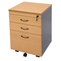 RAPID WORKER 3 DRAWER MOBILE PEDESTAL BEECH/IRONSTONE  - EACH