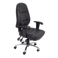 RAPIDLINE HIGH BACK TASK CHAIR WITH ARMS PU CHROME BASE BLACK  - EACH