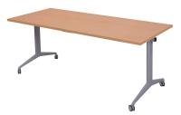 RAPIDLINE FLIP TOP TABLE 1500WX 750DX730H TOP BEECH/PRECUOUS SILVER LEGS  - EACH
