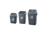 OATES PLASTIC SMALL FLIP BIN GREY 360X259X500MM - EACH