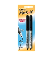 BIC MARK-IT PERMANENT MARKERS 1.1MM BLACK - PACK OF 2