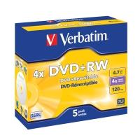 VERBATIM DVD+RW 4.7GB 4X JEWEL CASE - PACK OF 5