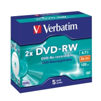 VERBATIM DVD-RW 4.7GB 2X JEWEL CASE - PACK OF 5