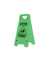 OATES A FRAME  CAUTION WET FLOOR CLEANING IN PROGESS  SIGN GREEN - EACH