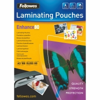 FELLOWES LAMINATING POUCHES 80 MICRONS A3 - BOX OF 100