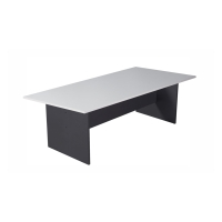 RAPIDLINE BOAT SHAPED BOARDROOM TABLE IRONSTONE BASE 2400X1200 WHITE -  EACH