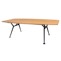 RAPIDLINE BOAT SHAPED BOARDROOM TABLE BLACK STEEL BASE 2400X1200 BEECH - EACH