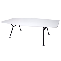 RAPIDLINE BOAT SHAPED BOARDROOM TABLE BLACK STEEL BASE 2400X1200 WHITE - EACH