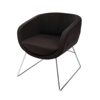 RAPIDLINE SPLASH CUBE VISITOR CHAIR WITH CHROME SLED BASE CHARCOAL - EACH