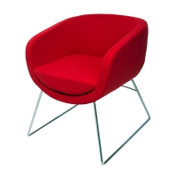 RAPIDLINE SPLASH CUBE VISITOR CHAIR WITH CHROME SLED BASE RED - EACH