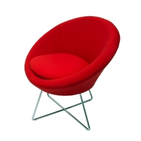 RAPIDLINE SPLASH CONE VISITOR CHAIR WITH CHROME CROSS BASE RED  - EACH
