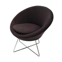 RAPIDLINE SPLASH CONE VISITOR CHAIR WITH CHROME CROSS  BASE CHARCOAL - EACH