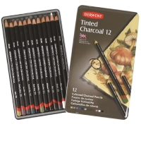 DERWENT TINTED CHARCOAL PENCILS WITH TIN - PACK OF 12