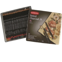 DERWENT TINTED CHARCOAL PENCILS WITH TIN - PACK OF 24
