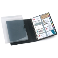 MARBIG BUSINESS CARD BINDER 4D-RING 500-CARD CAPACITY BLACK - EACH