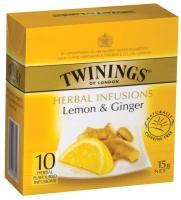 TWININGS LEMON GINGER TEA BAGS STRING & TAG - PACK OF 10