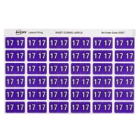 AVERY 17 SIDE TAB COLOUR CODING LABELS FOR LATERAL FILING, PURPLE, 180 LABELS