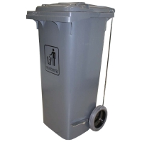 CLEANLINK TROLEY GARBAGE BIN WITH FOOT PEDAL 120L GREY - EACH