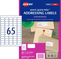AVERY QUICK PEEL ADDRESS LABELS FOR LASER PRINTERS 38.1X21.2MM 2600 LABELS L7651
