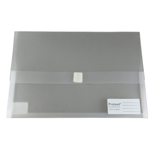 THE NOTEGROUP DOCUMENT WALLET WITH VELCRO FOOLSCAP CLEAR - EACH