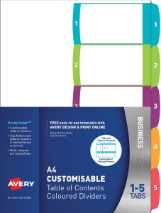AVERY READY INDEX DIVIDER 1-5 TAB A4 - EACH