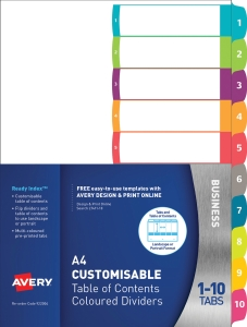 AVERY READY INDEX DIVIDER 1-10 TAB A4 - EACH