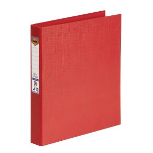 MARBIG LINEN BINDR A4 2D RING 25MM RED - EACH