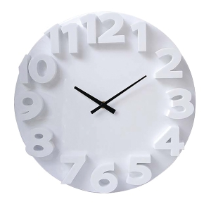 CARVEN 3D CLOCK FASHION 350MM WHITE - EACH