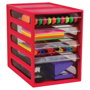 ITALPLAST OFFICE ORGANISER CABINET 4 DRAWER WATERMELON - EACH
