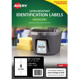 AVERY L7914 ULTRA HEAVY DUTY LABELS 99.1X7.7MM WHITE - PACK OF 10