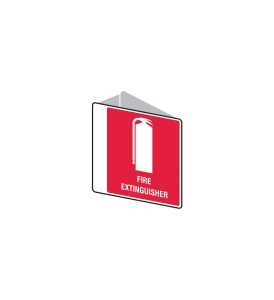 FIRE EXTINGUISHER SIGN ANGLED SMALL 225 X 225MM - EACH