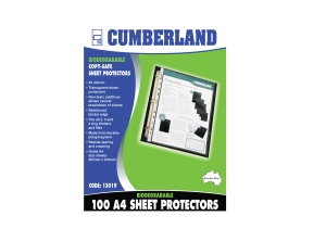CUMBERLAND ECOWISE BIODEGRADABLE SHEET PROTECTORS - BOX OF 100