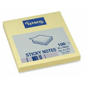 LYRECO REPOSITIONAL NOTES 76 X 76MM YELLOW - PACK OF 12