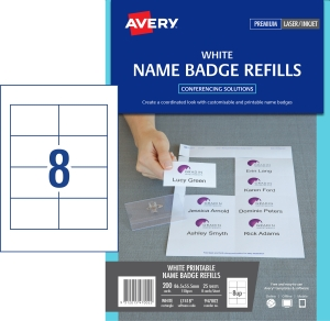 AVERY CARD NAME BADGES REFILL, 86.5X55.5MM, 200 CARDS L7418K