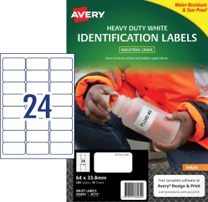 PK240 AVERY J4773 INK H/DUTY LAB 64X33.8