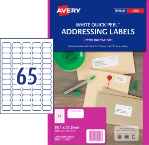 AVERY QUICK PEEL ADDRESS LABELS, LASER PRINTERS, 38.1X21.2MM, 1625 LABELS L7551