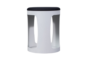 OTTOMAN BLACK FABRIC SEAT PAN WHITE BASE