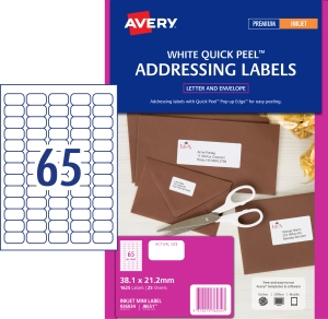 AVERY QUICK PEEL ADDRESS LABELS, INKJET PRINTERS, 38.1X21.2MM, 1625 LABELS J8651