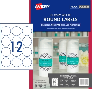 AVERY L7105 ROUND GLOSS LABEL - 12UP 60MM DIA PACK OF 10 **WHILE STOCKS LAST**