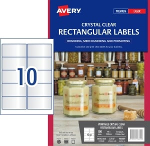 AVERY L7113 CRYSTAL CLR RECT - 10UP 96X50 8MM PACK OF 10