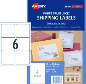 AVERY TRUEBLOCK SHIPPING LABELS, LASER PRINTERS, 99.1X93.1MM, 600 LABELS L7166