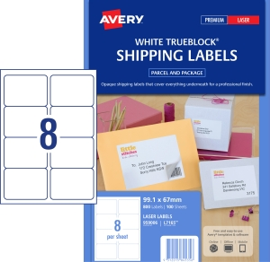 AVERY TRUEBLOCK SHIPPING LABELS, LASER PRINTERS, 99.1X67.7MM, 800 LABELS L7165